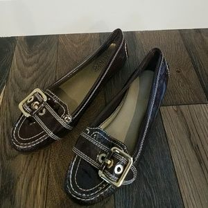 Franco Sarto brown patent leather loafers